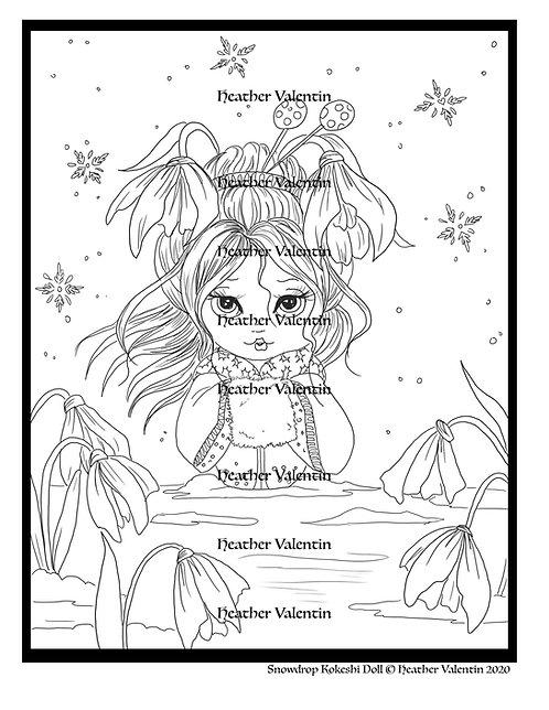 Snowdrop Kokeshi Doll