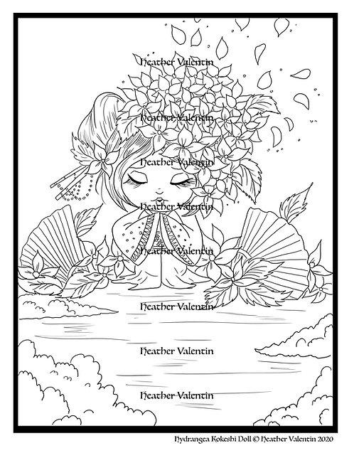 Hydrangea Kokeshi Doll