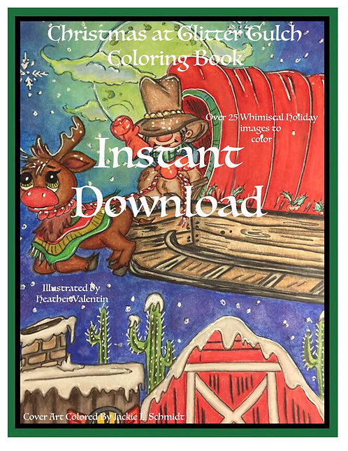 Christmas At Glitter GulchInstant Download Coloring Book