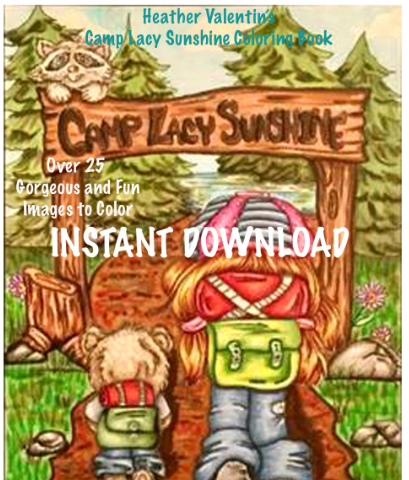 Heather Valentin's Camp Lacy Sunshine Instant Download Coloring Book
