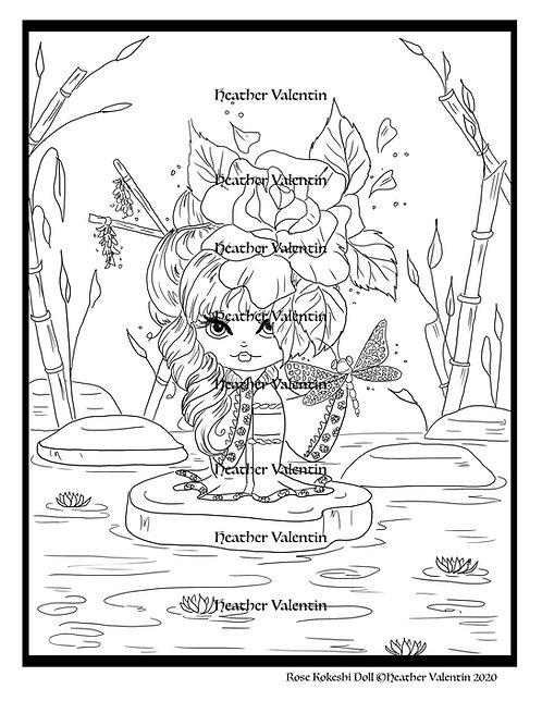 Rose Kokeshi Doll