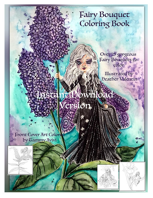 Fairy Bouquet Instant Download Coloring Book