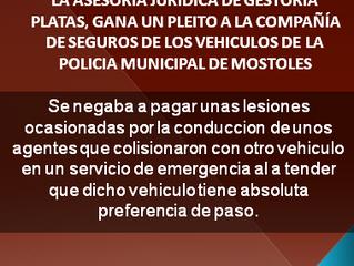 Gestoría Platas gana un pleito a la compaía de seguros de los vehículos de la policía