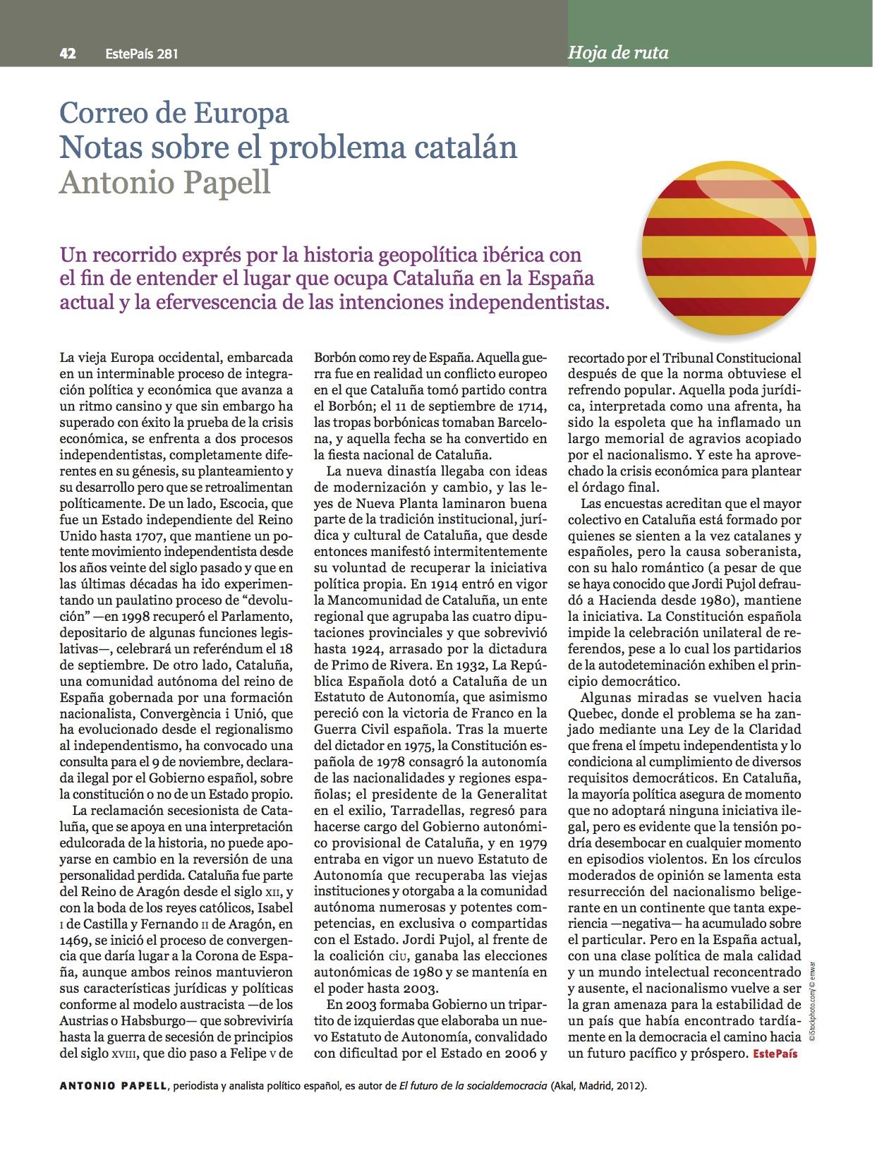 Notas sobre el problema catalán