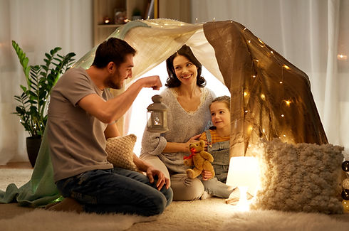 family, hygge and people concept - happy