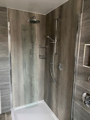 Wood effect tiles added within the shower