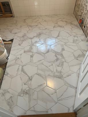Marble effect hexagon floor tiles