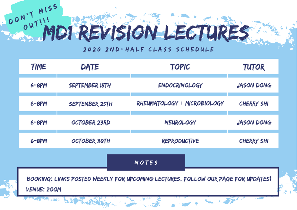 2020 MD1 Lecture Schedule 2