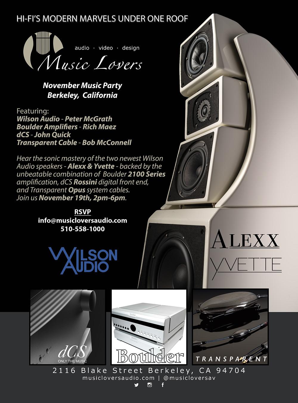 Wilson Audio Yvette & Alexx, dCS Rossini, Boulder 2100, Transparent Opus