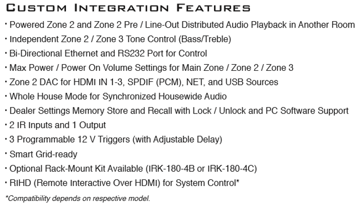 Integra DTR-50.7 Custom Integration Features