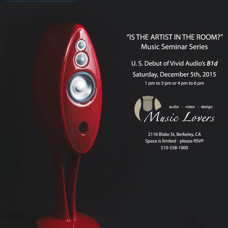 Reminder: Vivid B1 Decade Launch Party - Saturday December 5th 2015 at Music Lovers Berkeley