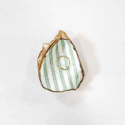 green stripe | oyster shell ring dish