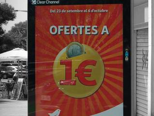 Alcampo campanya d'ofertes de productes a 1€ dins del circuit de mupis de Publicom
