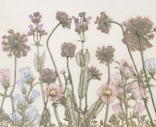 The Garden of Friendship: Queen Anne's Lace, Gerber Daisies, Penstemon, Campanula