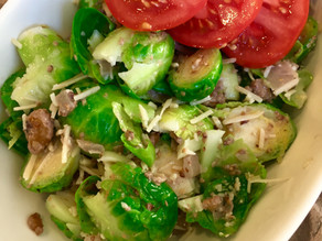 Brussels Sprouts Salad with Lemon Dijon Walnut Vinaigrette