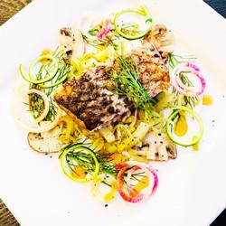 Crispy Skin Pacific Rockfish poached in Chardonnay