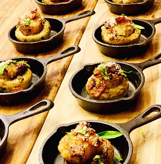 Seared Scallop & Applewood Smoked Bacon Stuffed Mushrooms