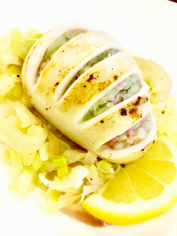 Pancetta & Jade Rice Stuffed Calamari