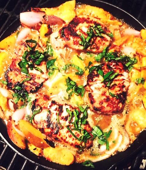 Grilled Pork Chops & Peaches