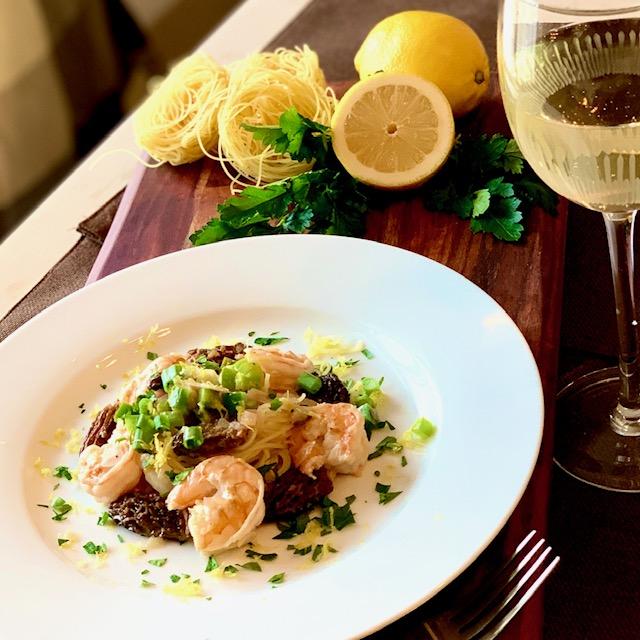 Shrimp & Morels over Capellini