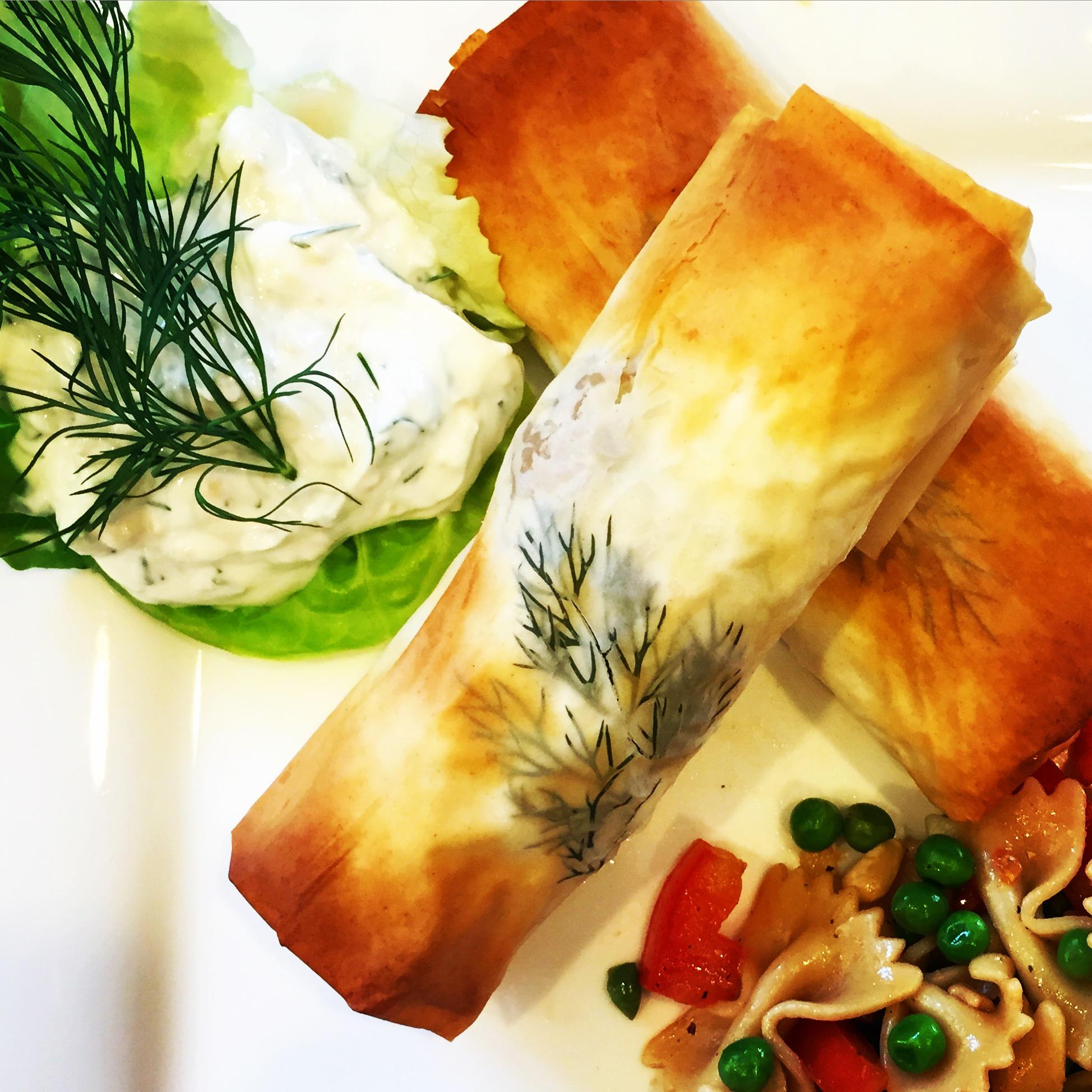Greek Turkey Phyllo Wraps with Tzatziki Sauce