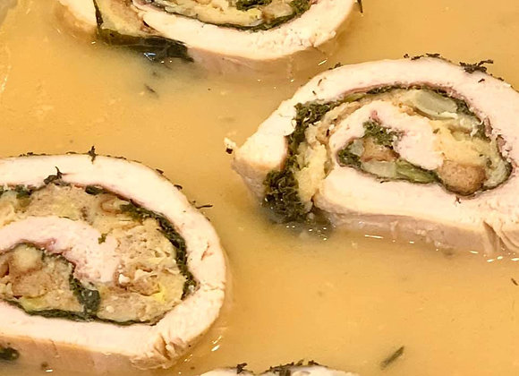Turkey Roulade with Herbed Bread Stuffing and White Wine Au Jus de Viande