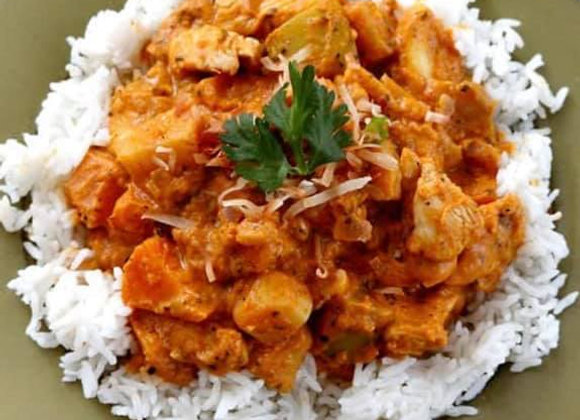 Pumpkin Coconut Curry Chicken with Jasmine Rice and Naan