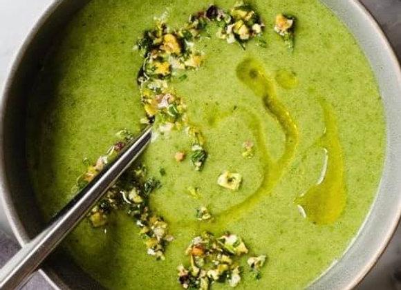 Spinach Rosemary Potato Soup and Pistachio Gremolata