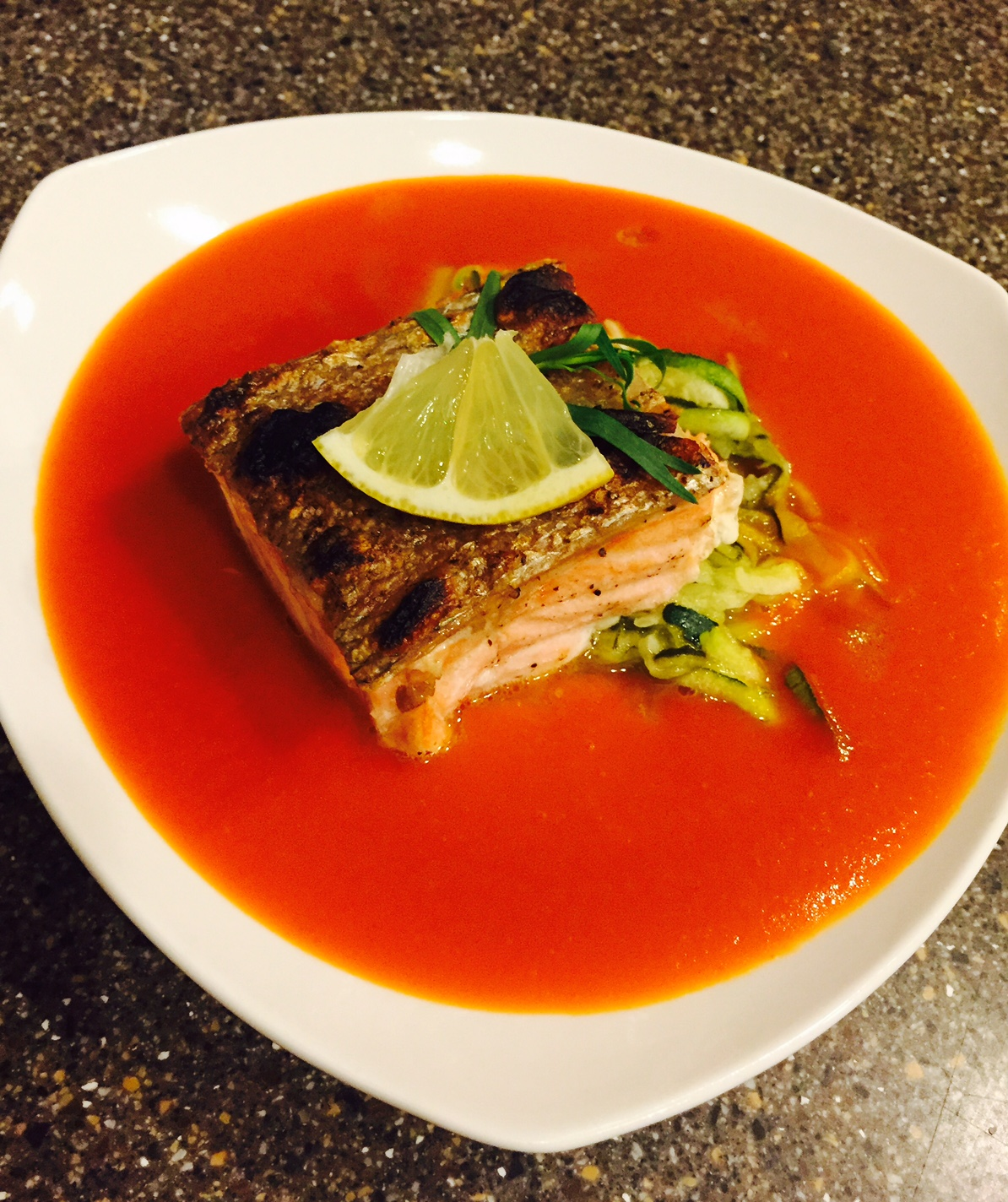 Crispy Skin Wild Caught Salmon over Zucchini Noodles & Lemon, Tarragon Tomato Soup