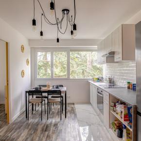 Vue d'ensemble cuisine /espace repas
