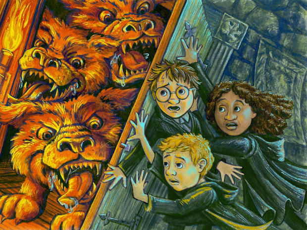 Harry, Ron, Hermione, and Fluffy