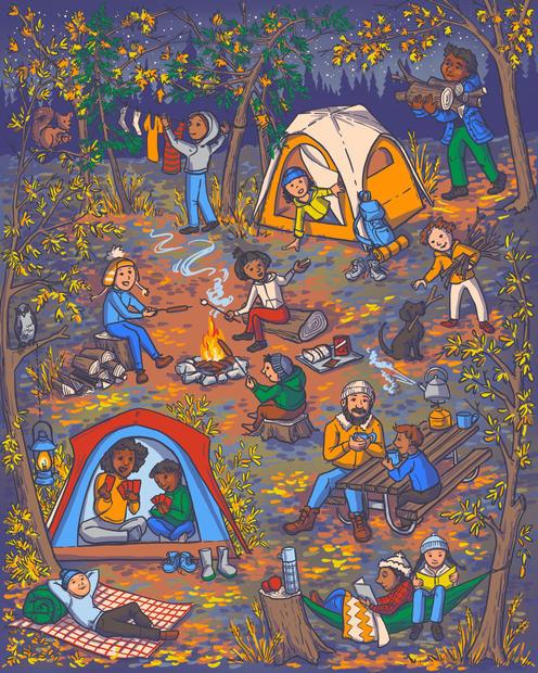 Autumn evening camping