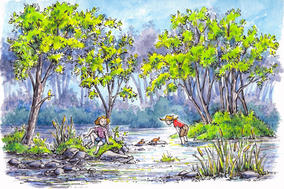Kids in a river