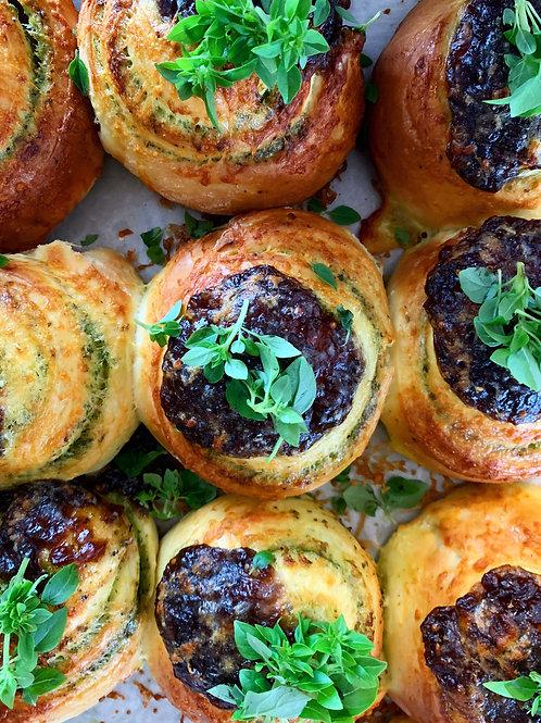 Pesto, Caramelised Onion and Mozzarella Brioche