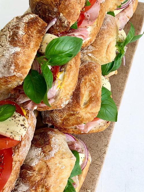 Ham, Tomato, Mozzarella and Basil Ciabatta
