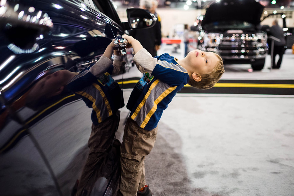 boy at the Philadelphia Auto Show
