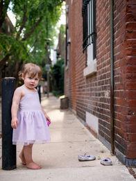 girl barefeet on philadelphia street