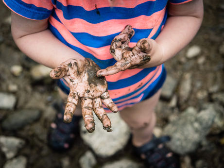 muddy hands in the wissachikon
