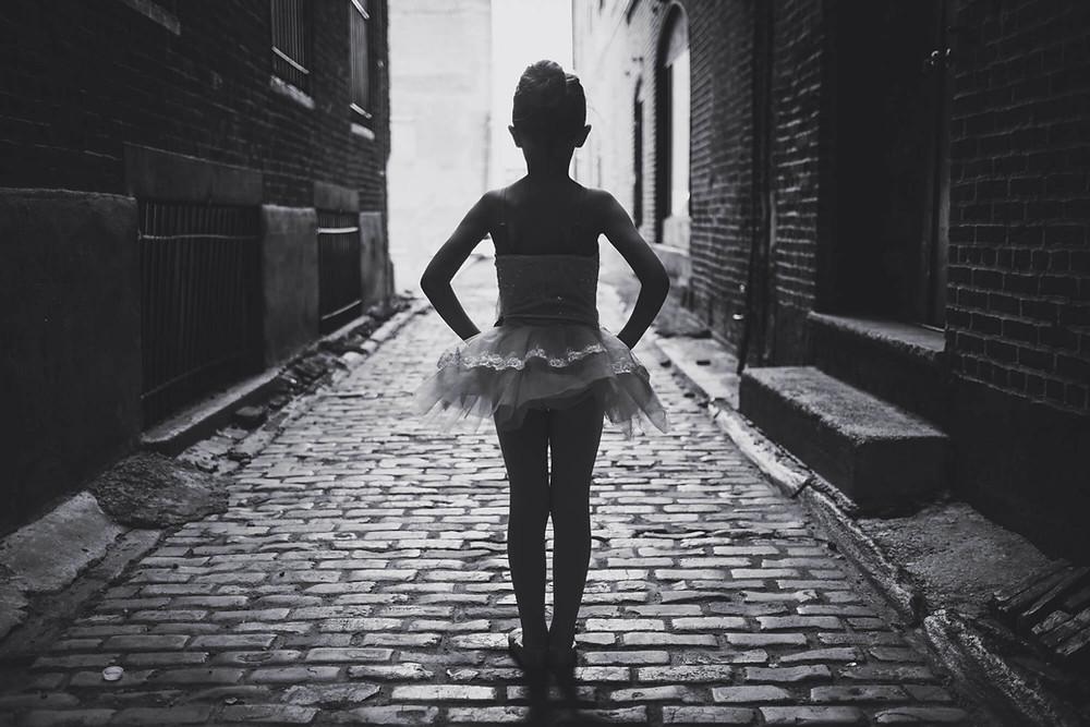 ballerina in philadelphia alley silhouette black and white