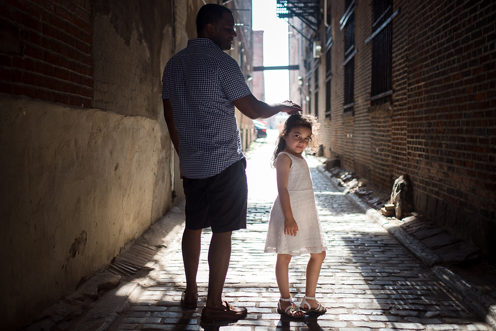 dad and daughter in old city philadelphia