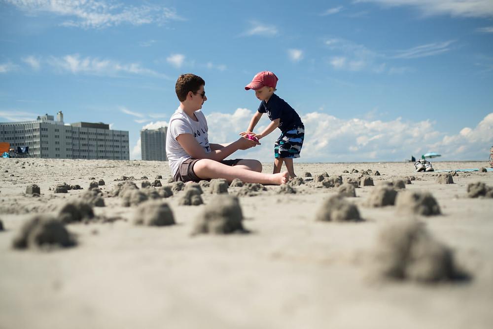 Child on beach in Atlantic City