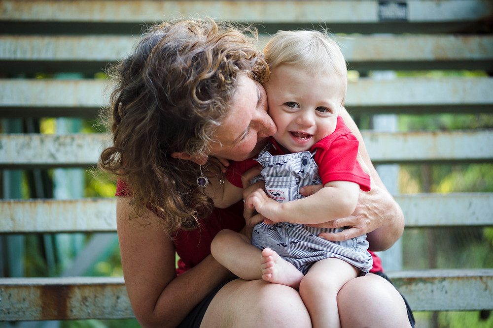 mom and son cuddling