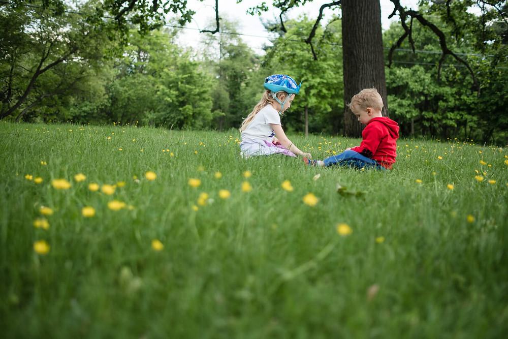 children picking flowers on lemon hill