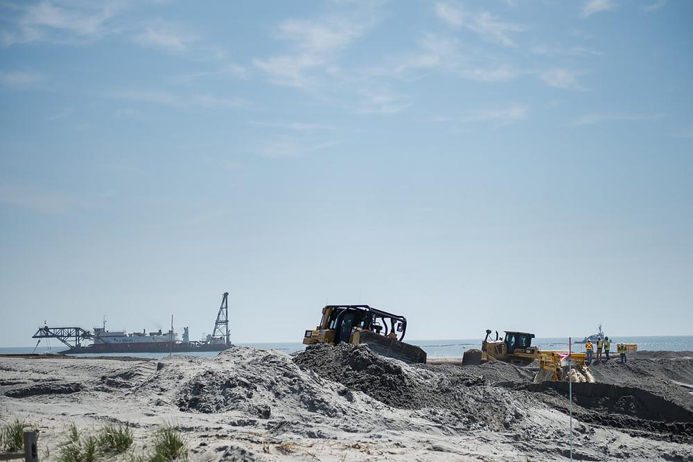 Construction trucks on Atlantic City Beach