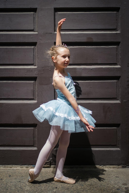 ballerina in high noon sun