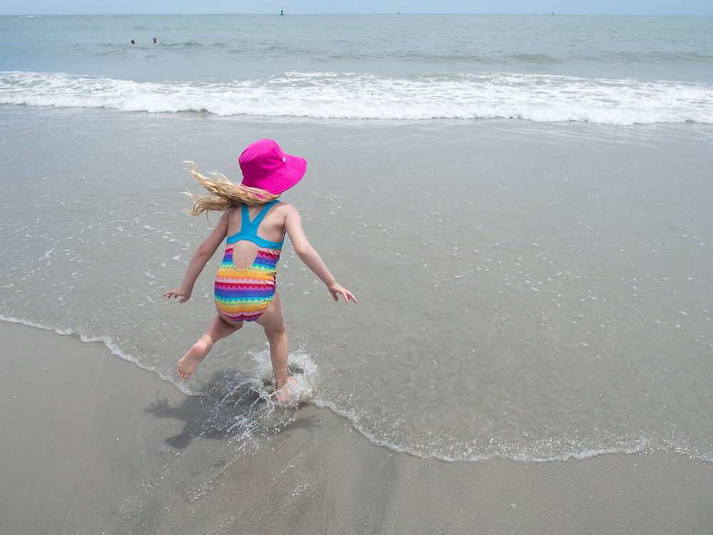 Child playing on the beach in Atlantic City