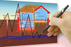 Hand drawing a chart about radon issue -