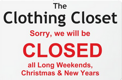 closed for long weekends, Christmas and New Years - Closet