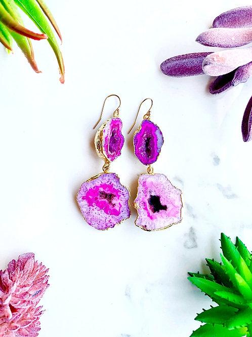 Pink Geode Earrings