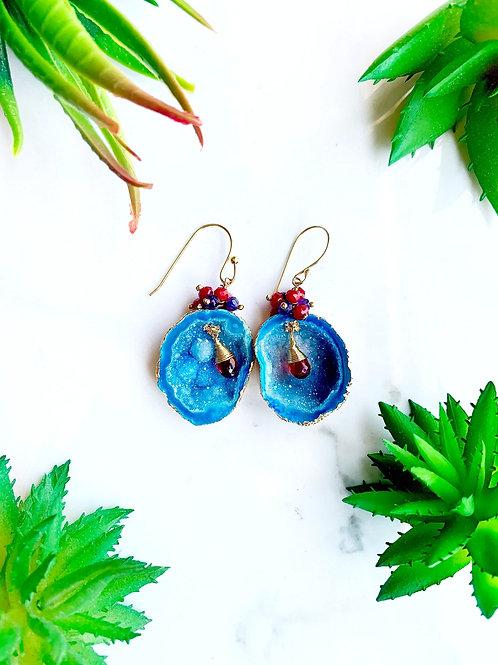 Blue Geode Earrings